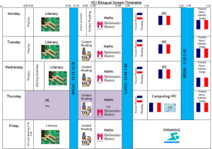 KS1 Bilingual timetable
