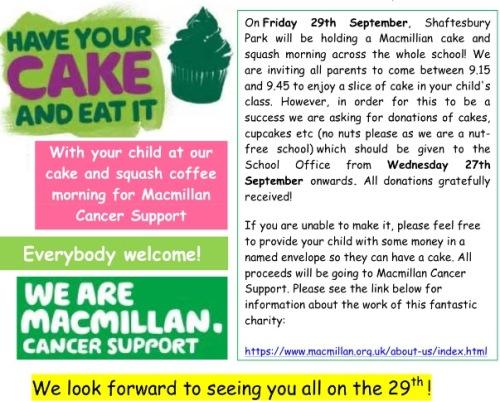 Macmillan Coffee Morning Friday 29th September 9 15am