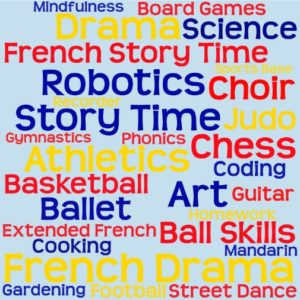 Extracurricular clubs on offer at Shaftesbury Park: Art, athletics, ballet, basketball, ball skills, board games, chess, choir, coding, cooking, drama, extended French, football, French drama, French story time, gardening, guitar, gymnastics, homework, judo, mandarin, mindfulness, phonics, recorder, robotics, science, sports base, story time, street dance.